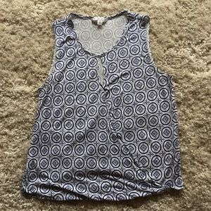 Cabi Cutout Wrap Tank Top Geometric Pattern M